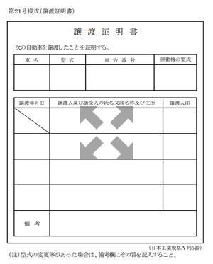 自動車登録専用譲渡証明書